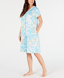 Printed Interlock-Knit Short Gripper Robe