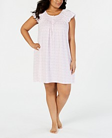 Plus-Size Printed Silky Knit Short Nightgown