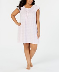 Miss Elaine Plus-Size Printed Silky Knit Short Nightgown