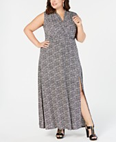 cda55e57667 MICHAEL Michael Kors Plus Size Printed Faux-Wrap Maxi Dress