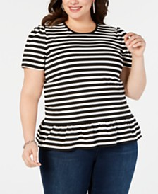 MICHAEL Michael Kors Plus Size Striped Ruffle-Hem T-Shirt