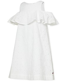 Tommy Hilfiger Little Girls Cold Shoulder Eyelet Dress