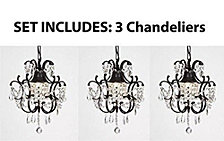 Versailles 1-Light Black Mini Chandelier with Crystal (Set of 3)