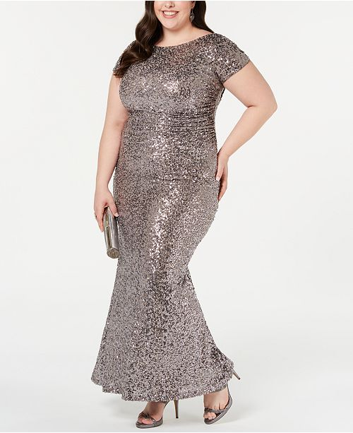 Betsy & Adam Plus Size Sequined Cowl-Back Gown ...