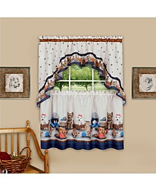 Precious Printed Tier and Swag Window Curtain Set, 57x24