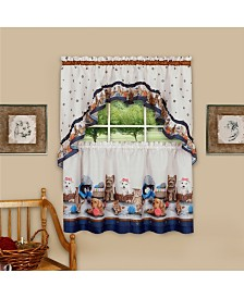 Precious Printed Tier and Swag Window Curtain Set, 57x24