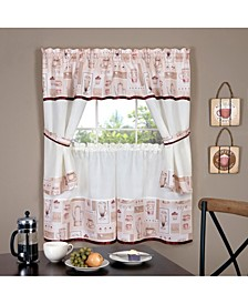 Cappuccino Embellished Cottage Window Curtain Set, 58x36