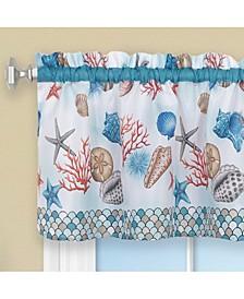 Coastal Tier and Valance, Window Curtain Set, 58x24