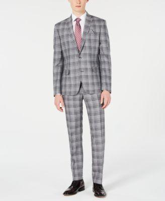 Men's Slim-Fit Linen Gray Plaid Suit Jacket, Created for Macy's