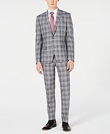 Men's Slim-Fit Linen Gray Plaid Suit Separates, Created for Macy's