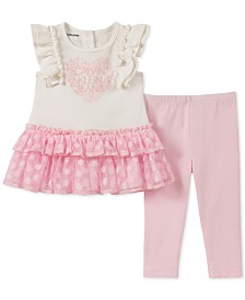 Calvin Klein Baby Girls 2-Pc. Ruffled Mesh Tunic & Leggings Set