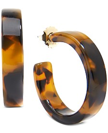 "Zenzii Gold-Tone Acetate Tortoise Shell-Look Medium 1-1/2"" Hoop Earrings"