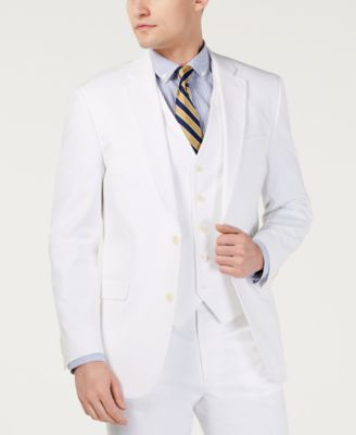 Men's Modern-Fit THFlex Stretch Solid White Suit Jacket