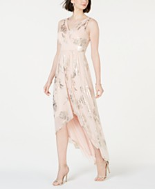Jessica Howard Allover Gold-Foil High-Low Dress