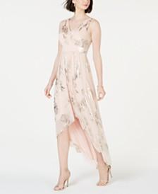 Jessica Howard Allover Gold-Foil High-Low Dress