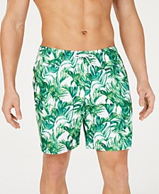 "Men's Green Palmetto-Print 6"" Volley Swim Trunks, Created for Macy's"