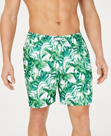 "Trunks Surf & Swim Co. Men's Green Palmetto-Print 6"" Volley Swim Trunks, Created for Macy's"