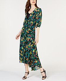 Calvin Klein Printed Wrap Maxi Dress