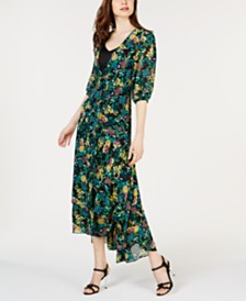 Calvin Klein Printed Wrap High-Low Maxi Dress