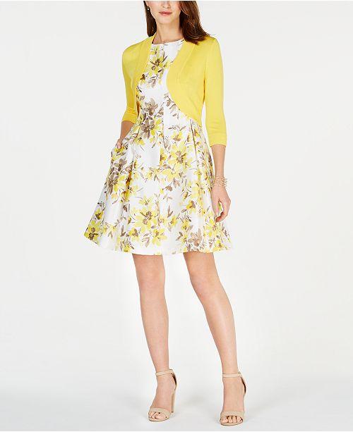 91de05dfc1bf5 ... Jessica Howard Petite Shrug & Floral-Print Fit & Flare Dress ...