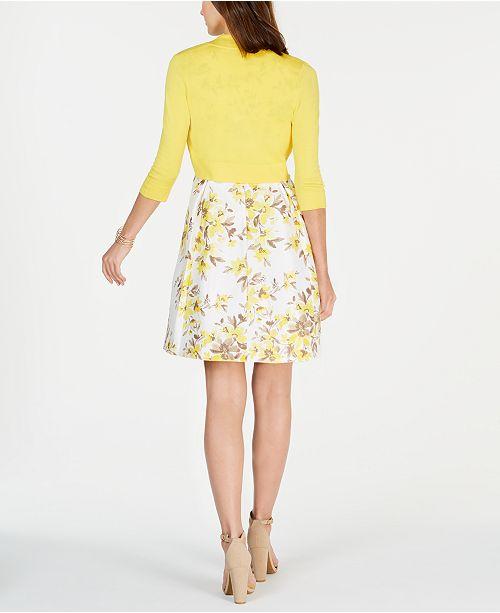 176b34cb6ff ... Jessica Howard Petite Shrug   Floral-Print Fit   Flare Dress ...