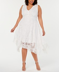 Taylor Plus Size Lace Handkerchief-Hem Dress