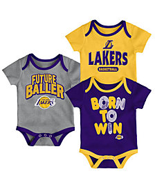 Outerstuff Los Angeles Lakers 3 Piece Bodysuit Set, Infants (0-9 Months)