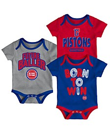 Detroit Pistons 3 Piece Bodysuit Set, Infants (0-9 Months)