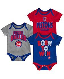 Outerstuff Detroit Pistons 3 Piece Bodysuit Set, Infants (0-9 Months)
