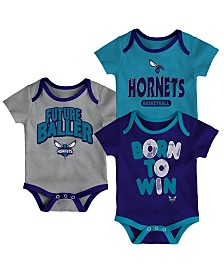 Outerstuff Charlotte Hornets 3 Piece Bodysuit Set, Infants (0-9 Months)