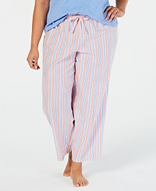 Charter Club Plus-Size Stripe-Print Woven Soft Cotton Pajama Pants, Created for Macy's