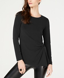 I.N.C. Petite Long-Sleeve Asymmetrical-Twist Top, Created for Macy's