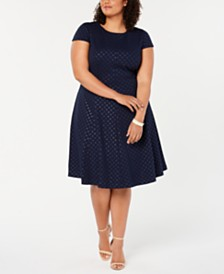 Jessica Howard Plus Size Polka-Dot Fit & Flare Dress