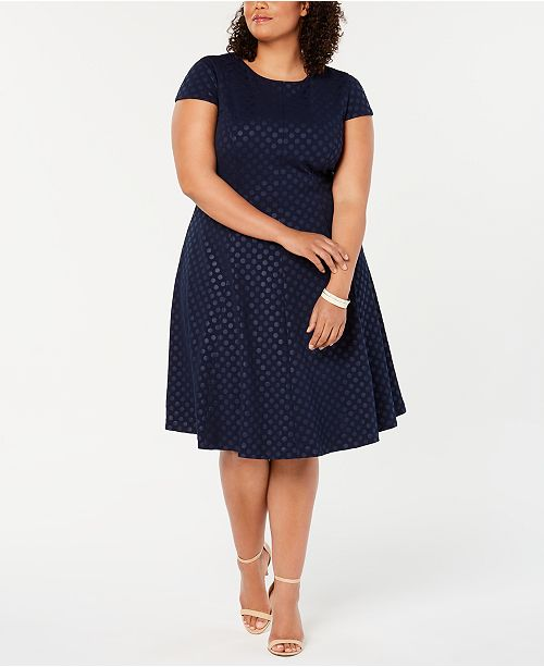 Jessica Howard Plus Size Polka-Dot Fit & Flare Dress ...