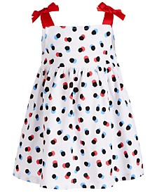 First Impressions Baby Girls Dot-Print Cotton Dress, Created for Macy's