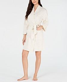 Stripe-Print Knit Short Robe, Created for Macy's