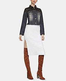 BCBGMAXAZRIA Leather-Trim Denim Jacket