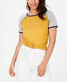 Ultra Flirt By Ikeddi Juniors' Knot-Front Colorblock Baseball T-Shirt
