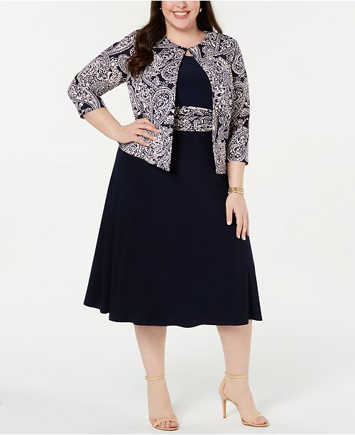 Jessica Howard Plus Size Dress & Puff-Print Jacket ...