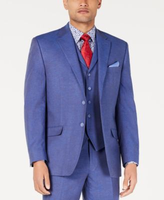 Men's Classic-Fit Blue Textured Suit Jacket