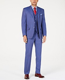 Men's Classic-Fit Blue Textured Suit Separates