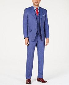 Sean John Men's Classic-Fit Blue Textured Suit Separates