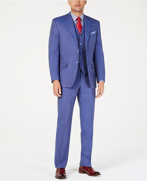 Sean John Men's Classic-Fit Blue Textured Suit Separates