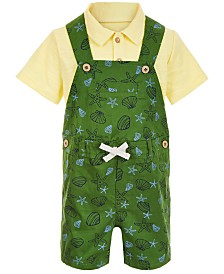 First Impressions Baby Boys 2-Pc. Polo Shirt & Seashell Shortall Set, Created for Macy's