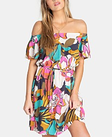 Billabong Juniors' Both Ways Printed Off-The-Shoulder Dress