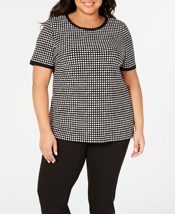 Anne Klein Plus Size Button-Back Short-Sleeve Top