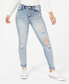 Indigo Rein Juniors' Ripped Denim Jeggings