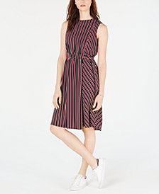 Tommy Hilfiger Striped Belted-Waist Dress