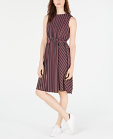 Tommy Hilfiger Striped Belted-Waist Dress