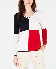 Tommy Hilfiger Colorblocked V-Neck Cotton Sweater